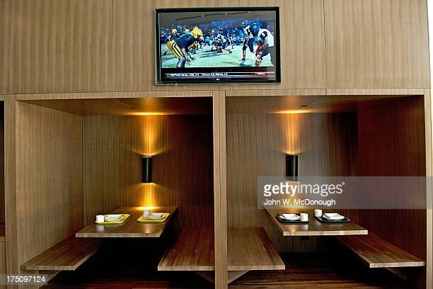 Interior view of booths in dining room at new Football Performance Center in HatfieldDowlin Complex on UO campus The 145000squarefoot facility was...