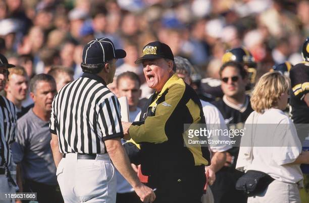Iowa head coach Hayden Fry arguing with official during game vs Ohio State at Kinnick Stadium Iowa City IO CREDIT Damian Strohmeyer