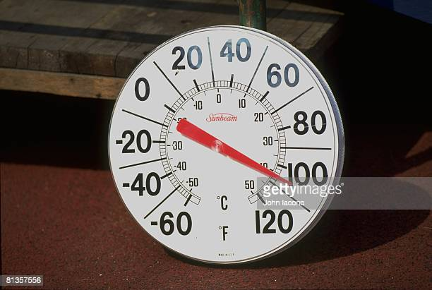 College Football: Kickoff Classic, Closeup of thermometer, equipment showing temperature of 113 degrees during Nebraska vs West Virginia game, East...