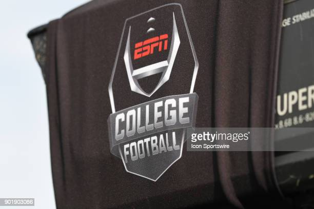 College Football logo on a tv camera before the College Football Playoff Semifinal at the Rose Bowl Game between the Georgia Bulldogs and Oklahoma...