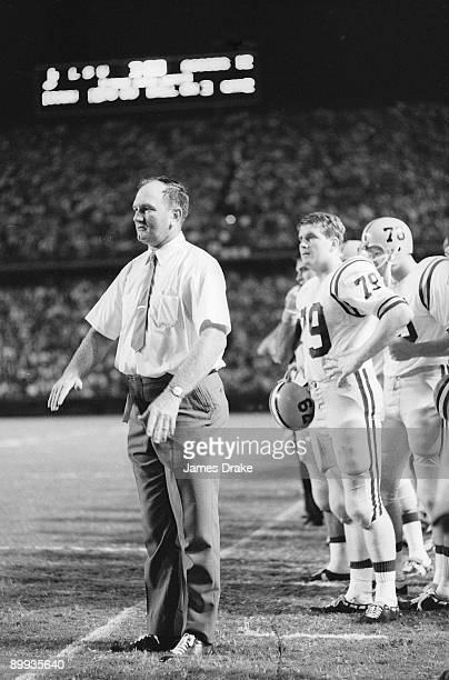 Louisiana State coach Charlie McClendon on sidelines during game vs Texas AM Baton Rouge LA 9/21/1968 CREDIT James Drake