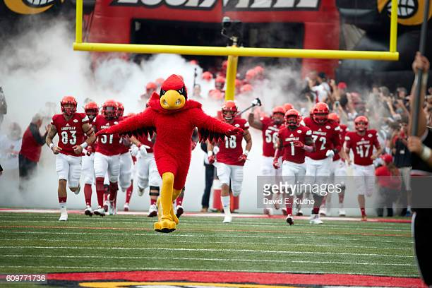 Louisville mascot Cardinal Bird and players take the field before game vs Florida State at Papa John's Cardinal Stadium Louisville KY CREDIT David E...