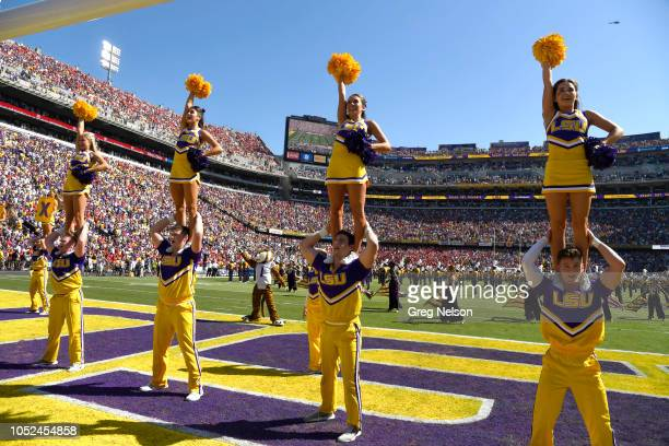 LSU cheerleaders perfoming on field duirng game vs Georgia at Tiger Stadium Baton Rouge LA CREDIT Greg Nelson