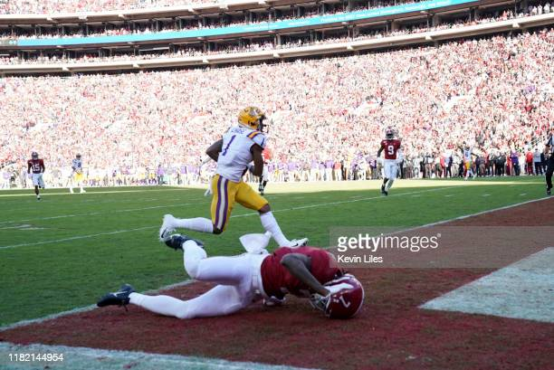 LSU Ja'Marr Chase in action scoring touchdown vs Alabama at BryantDenny Stadium Tuscaloosa AL CREDIT Kevin D Liles