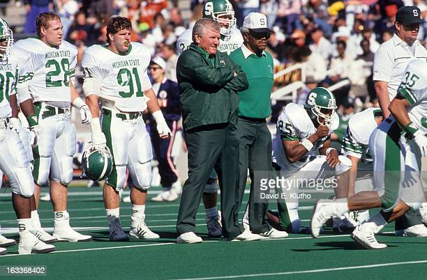 Michigan State coach George Perles on sidelines during game vs Illinois at Memorial Field Champaign IL CREDIT David E Klutho