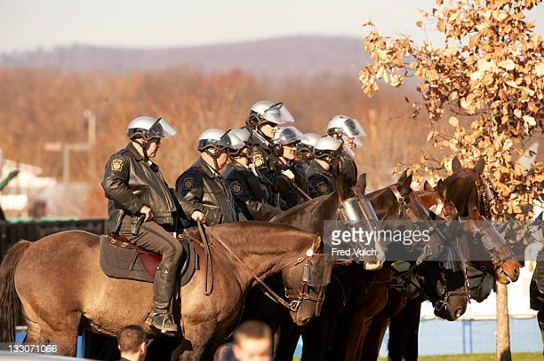 Mounted police on horses in Happy Valley during Penn State vs Nebraska game at Beaver Stadium University Park PA CREDIT Fred Vuich