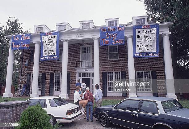 Investigation of U of Florida: View of Delta Upsilon fraternity house with THE MORE THINGS CHANGE THE MORE THEY STAT THE SAME sign at 1814 W....