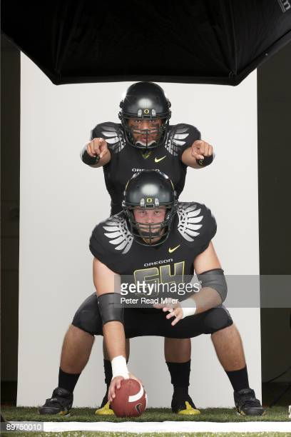 Season Preview: Portrait of Oregon QB Jeremiah Masoli and Jordan Holmes during photo shoot at Moshofsky Sports Center. Cover. Eugene, OR 7/15/2009...