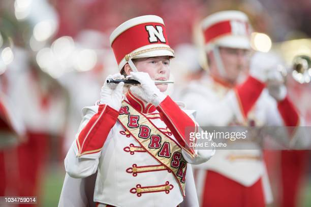 Nebraska marching band member performing on field before game vs Akron at Memorial Stadium Lincoln NE CREDIT David E Klutho