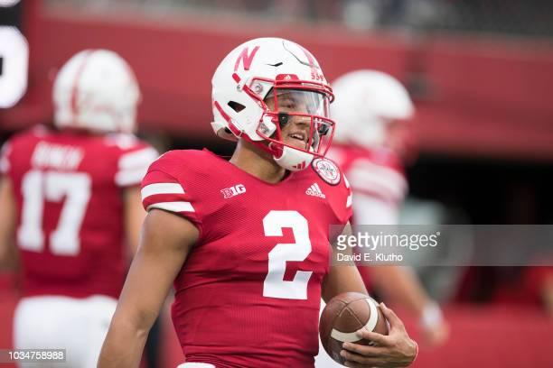 Nebraska QB Adrian Martinez on field before game vs Akron at Memorial Stadium Lincoln NE CREDIT David E Klutho