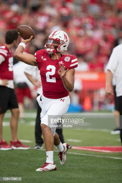 Nebraska QB Adrian Martinez warming up on field before game vs Akron at Memorial Stadium Lincoln NE CREDIT David E Klutho