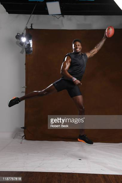 NFL Draft Preview Closeup portrait of Mississippi wide receiver DK Metcalf posing during photo shoot at Manning Center Oxford MS CREDIT Robert Beck