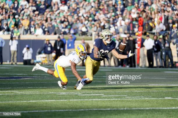 Notre Dame Chase Claypool in action making catch vs Pittsburgh Dane Jackson at Notre Dame Stadium Notre Dame IN CREDIT David E Klutho