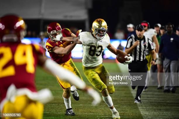 Notre Dame Chase Claypool in action vs USC at Los Angeles Memorial Coliseum Los Angeles CA CREDIT Kohjiro Kinno