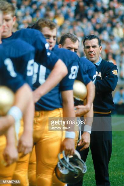 Notre Dame coach Ara Parseghian on sidelines with his players before game vs Purdue at Notre Dame Stadium South Bend IN CREDIT James Drake