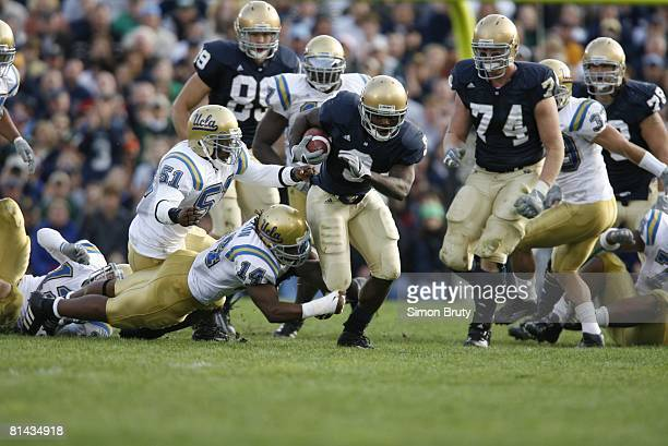 College Football Notre Dame Darius Walker in action rushing vs UCLA South Bend IN