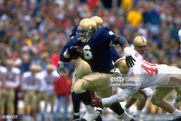 College Football Notre Dame Jerome Bettis in action rushing vs Boston College Jason Pohopek South Bend IN 11/7/1992
