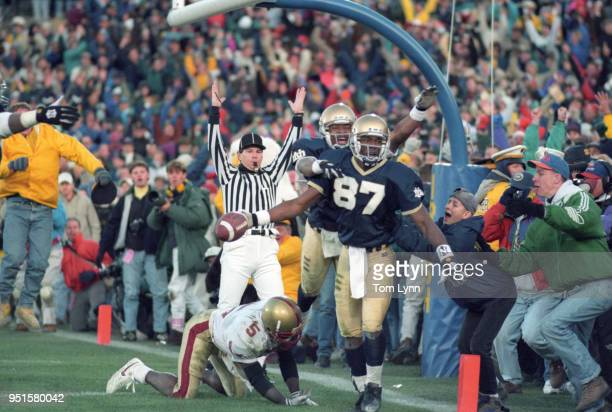 Notre Dame Lake Dawson victorious after scoring touchdown vs Boston College at Notre Dame Stadium South Bend IN CREDIT Tom Lynn