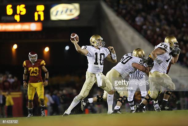 College Football: Notre Dame QB Brady Quinn in action, making pass vs USC, Los Angeles, CA