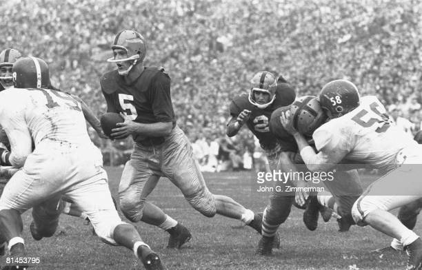 College Football Notre Dame QB Paul Hornung in action vs Michigan State South Bend IN