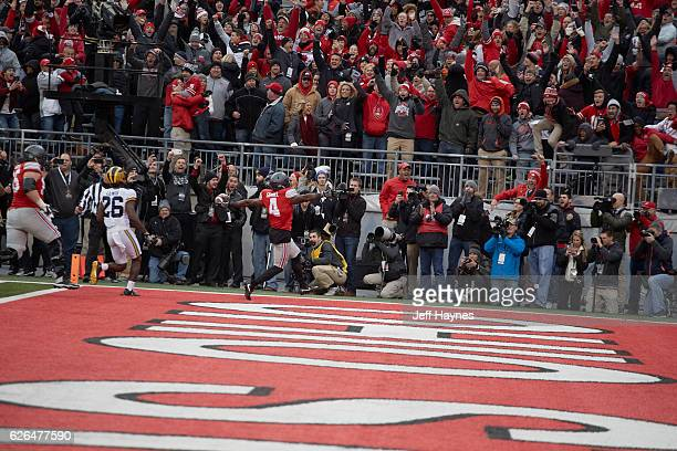 Ohio State Curtis Samuel victorious after scoring game winning touchdown during second overtime vs Michigan at Ohio Stadium Columbus OH CREDIT Jeff...