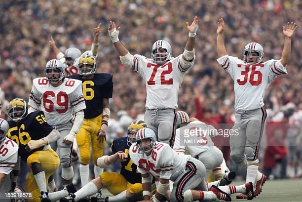 Ohio State players victorious on field after scoring touchdown vs Michigan during 2nd quarter at Michigan Stadium Ann Arbor MI CREDIT Neil Leifer