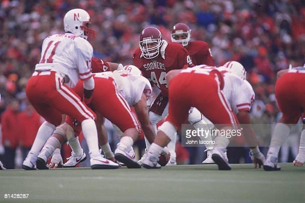 College Football Oklahoma Brian Bosworth on field during game vs Nebraska Norman OK