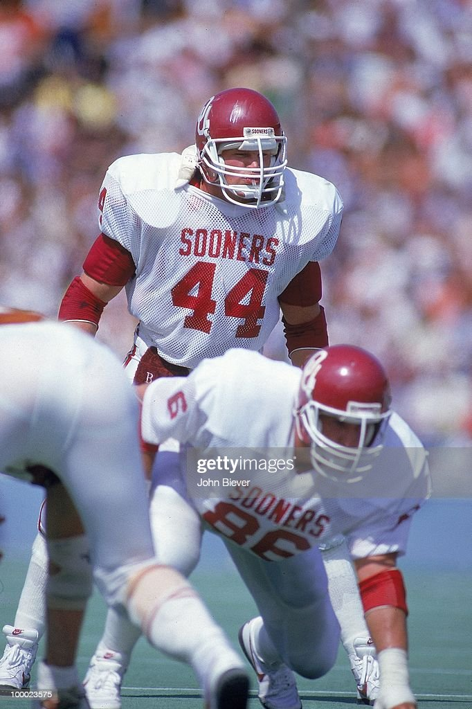 Oklahoma Brian Bosworth (44) on field during game vs Texas. Dallas, TX