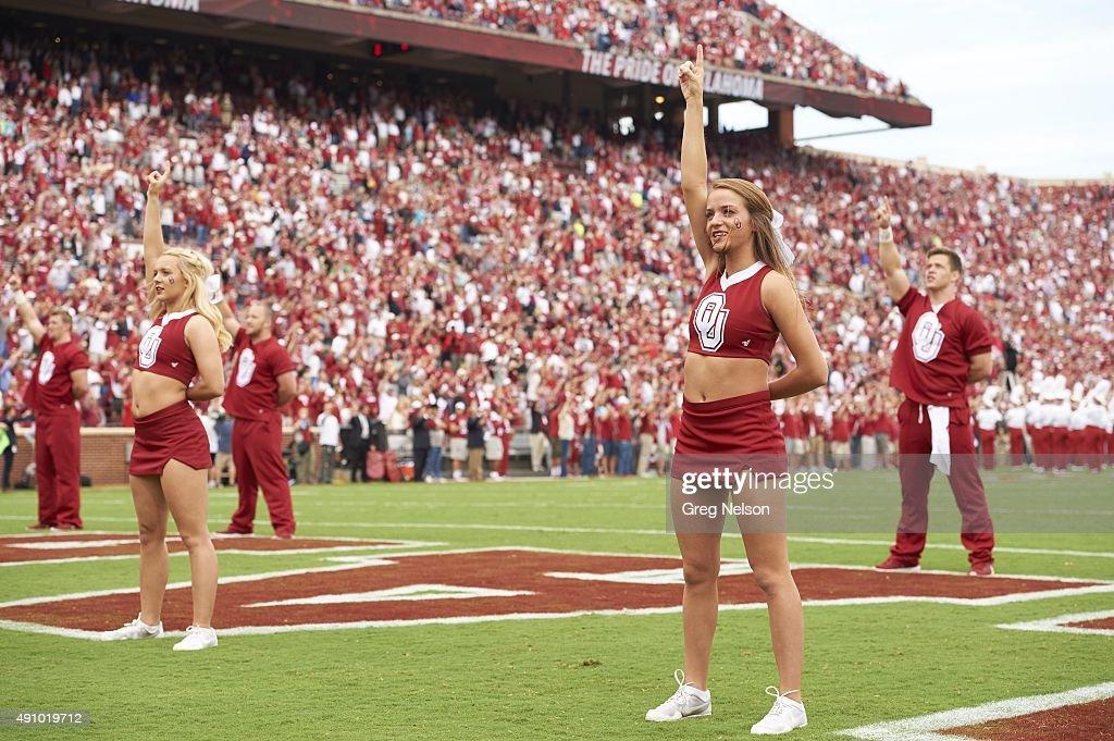 Oklahoma cheerleaders on field before game vs Tulsa at ...