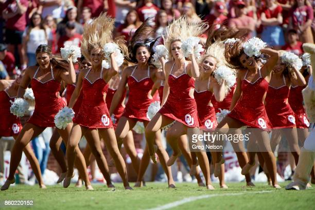 Oklahoma cheerleaders on field during game vs Iowa State at Gaylord Family Oklahoma Memorial Stadium Norman OK CREDIT Greg Nelson