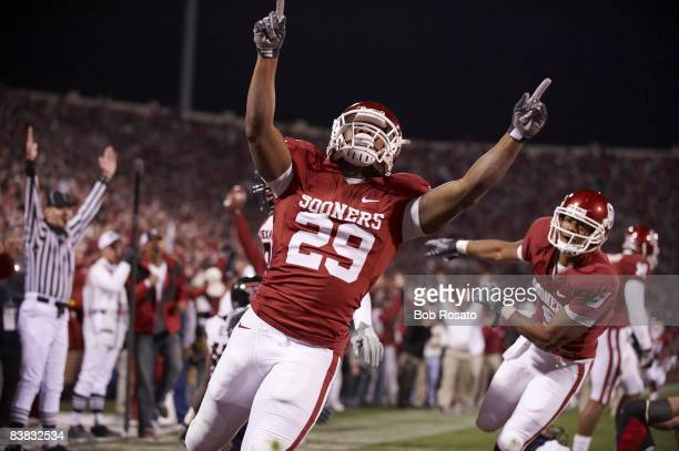 Oklahoma Chris Brown victorious during game vs Texas Tech Norman OK CREDIT Bob Rosato