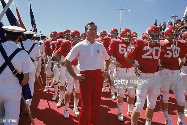 College Football Oklahoma coach Chuck Fairbanks with team before game vs Oregon Norman OK 9/23/1972