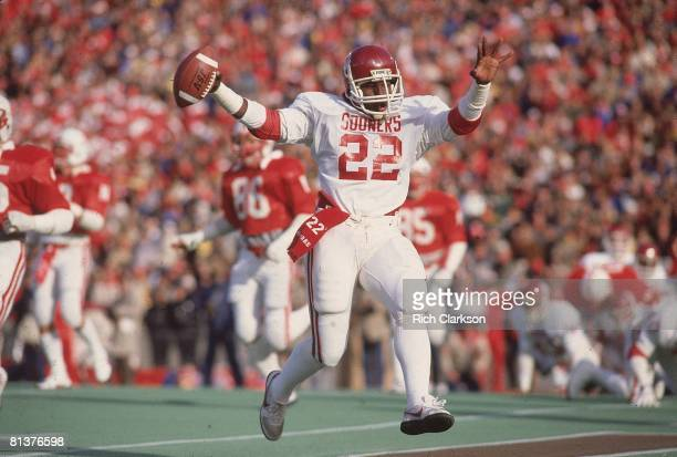 College Football Oklahoma Marcus Dupree victorious after scoring TD vs Nebraska Lincoln NE
