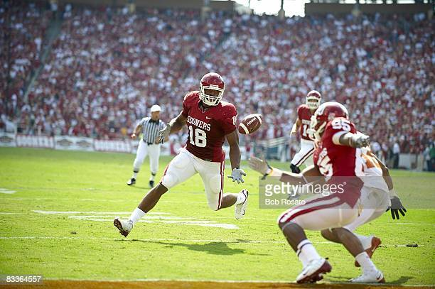 Oklahoma Ryan Broyles in action making catch vs Texas Ball was deflected by Jermaine Gresham from QB Sam Bradford for touchdown Austin TX CREDIT Bob...