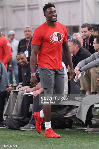 Ole Miss Pro Day Mississippi wide receiver DK Metcalf during workout session at Manning Center Oxford MS CREDIT Robert Beck