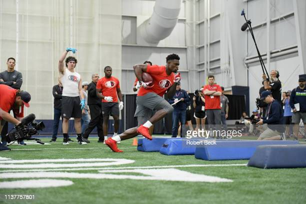 Ole Miss Pro Day Mississippi wide receiver DK Metcalf in action during workout session at Manning Center Oxford MS CREDIT Robert Beck