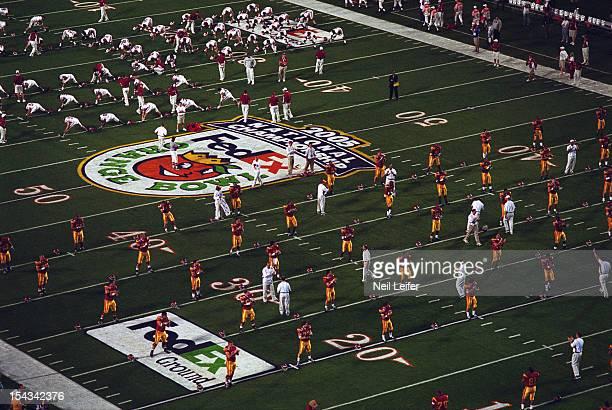 Orange Bowl Aerial view of USC and Oklahoma during warmups before BCS Championship game vs Oklahoma at Pro Player Stadium Miami Gardens FL CREDIT...