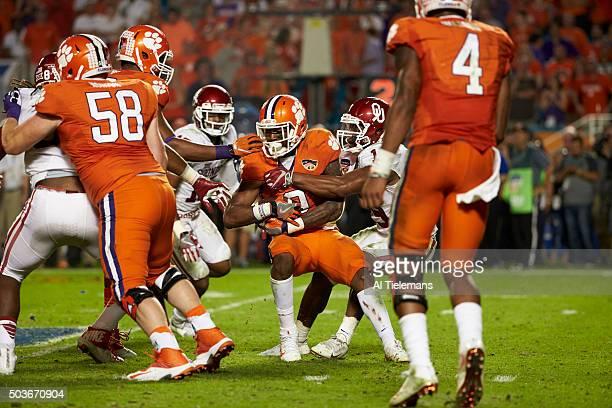 Orange Bowl: Clemson Wayne Gallman in action, rushing vs Oklahoma during College Football Playoff Semifinal at Sun Life Stadium. Miami Gardens, FL...