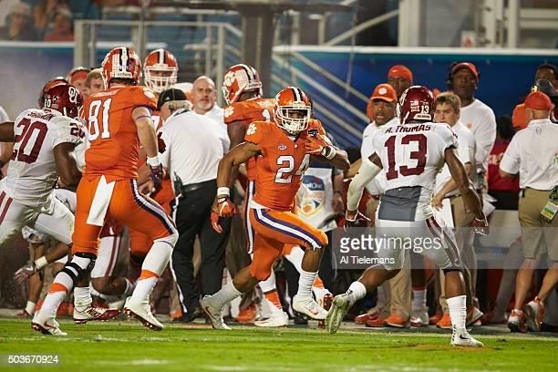 Orange Bowl: Clemson Zac Brooks in action, rushing vs Oklahoma during College Football Playoff Semifinal at Sun Life Stadium. Miami Gardens, FL...