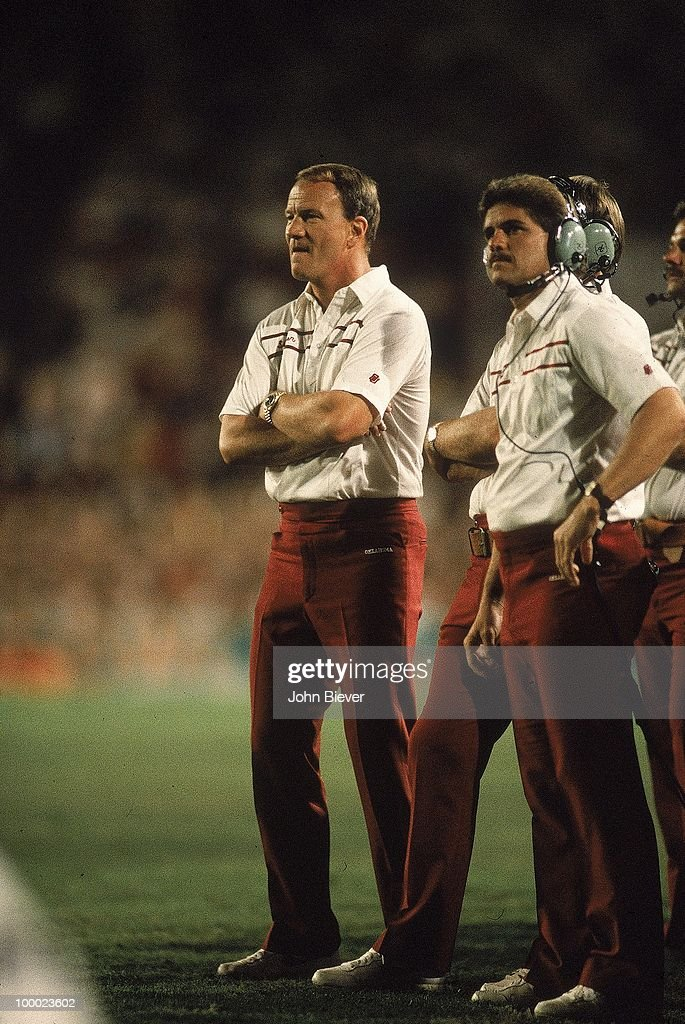 Oklahoma coach Barry Switzer on sidelines during game vs Penn State. Miami, FL 1/1/1986