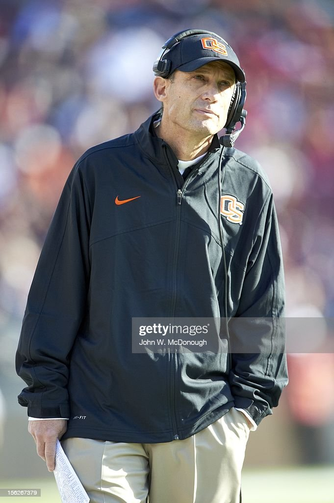 Oregon State head coach Mike Riley on sidelines during game vs Stanford at Stanford Stadium. John W. McDonough F454 )