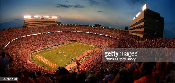 Overall night time view of Neyland Stadium during ...