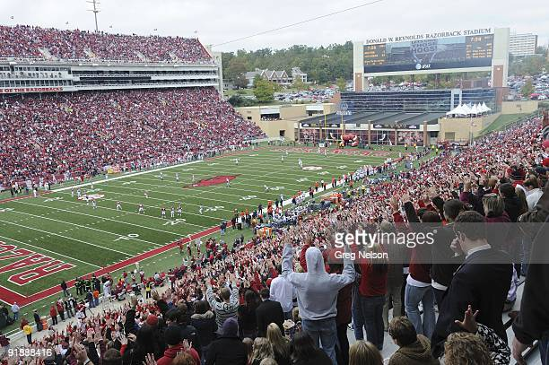 Overall view of Arkansas fans in stands during kickoff of game vs Auburn at Donald W Reynolds Razorback Stadium Fayetteville AR CREDIT Greg Nelson