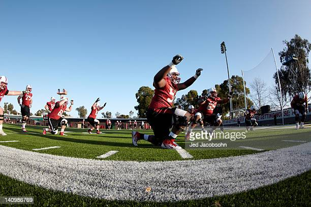 Overall view of miscellaneous Stanford players working out during Monday practice at Elliott Practice Fields Stanford CA CREDIT Jed Jacobsohn