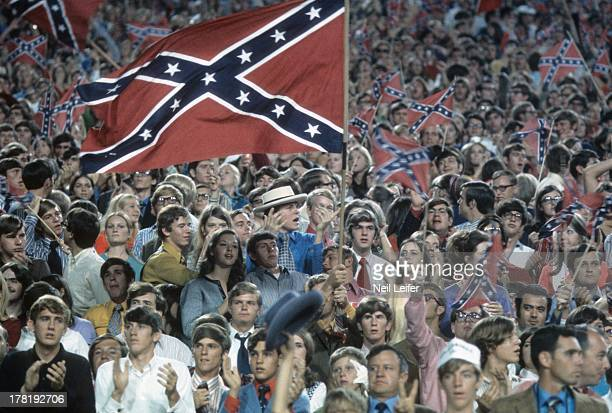 Overall view of Mississippi fans with Confederate flags during game vs Alabama at Mississippi Veterans Memorial Stadium Jackson MS CREDIT Neil Leifer
