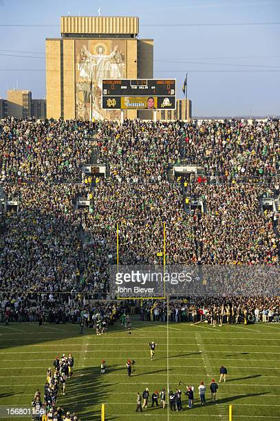 Overall view of Notre Dame Te'o Manti during player introductions before game vs Wake Forest at Notre Dame Stadium Scenic view of scoreboard and The...