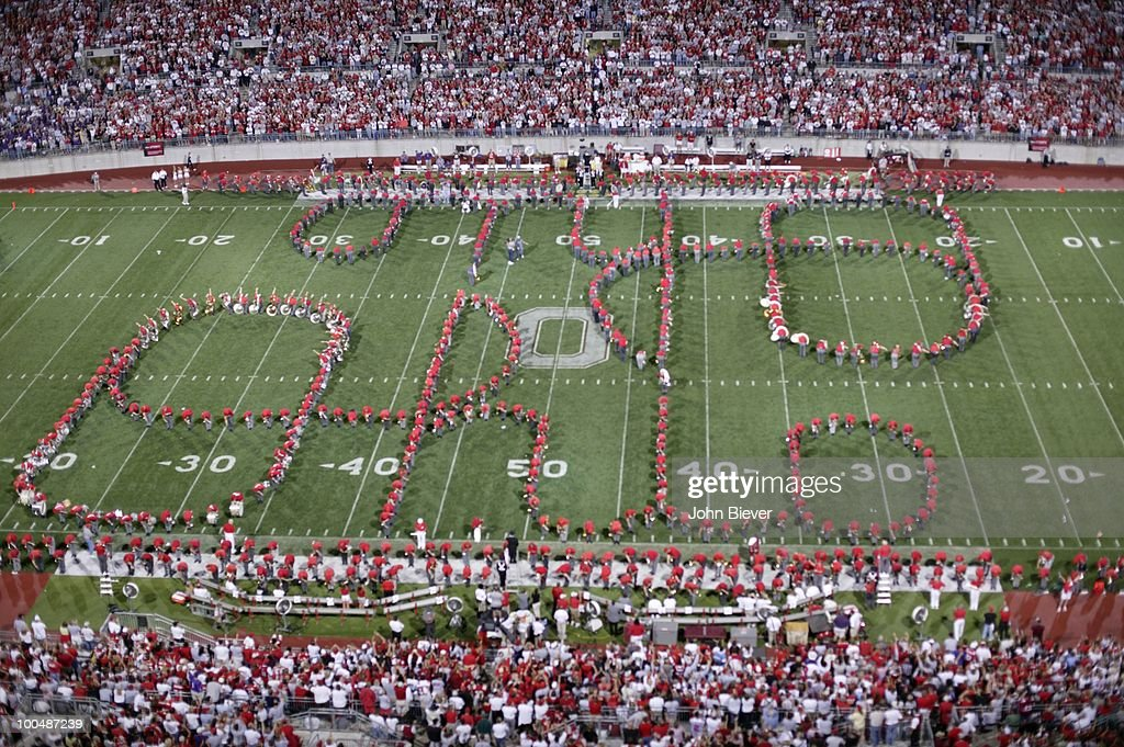 Overall view of Ohio State marching band on field spelling script OHIO before game vs Washington at Ohio Stadium. Columbus, OH 8/30/2003