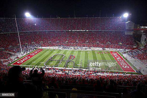 Overall view of Ohio State marching band on field spelling script OHIO at Ohio Stadium during halftime of game vs Penn State Columbus OH CREDIT Bill...