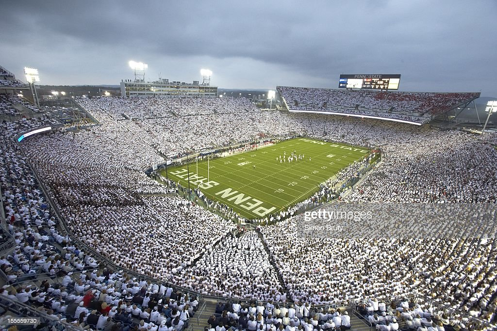 Overall view of Penn State fans wearing all white in stands during 'White Out' game vs Ohio State at Beaver Stadium. Simon Bruty F120 )