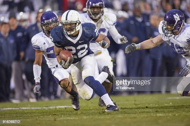 Penn State Evan Royster in action rushing vs Northwestern at Beaver Stadium University Park PA CREDIT Al Tielemans